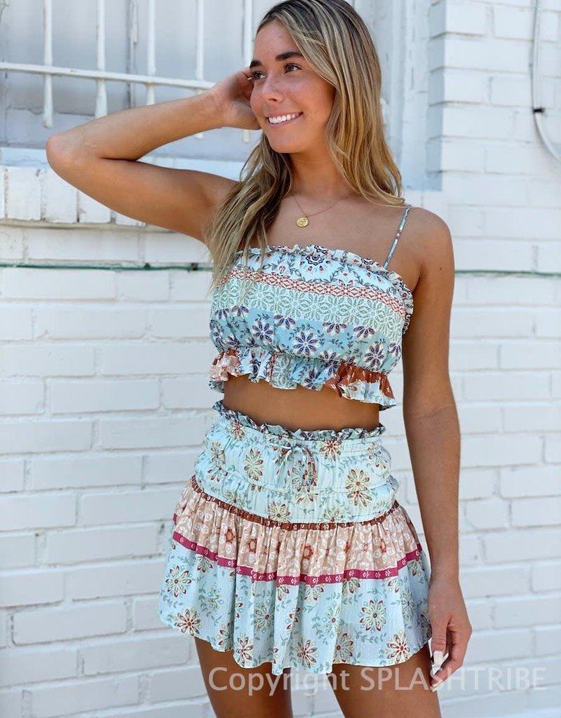 Bailey Patchwork Ruffle Crop Top & Mini Skirt Set