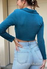 Shimmer Button Front Collared Long Sleeve Top