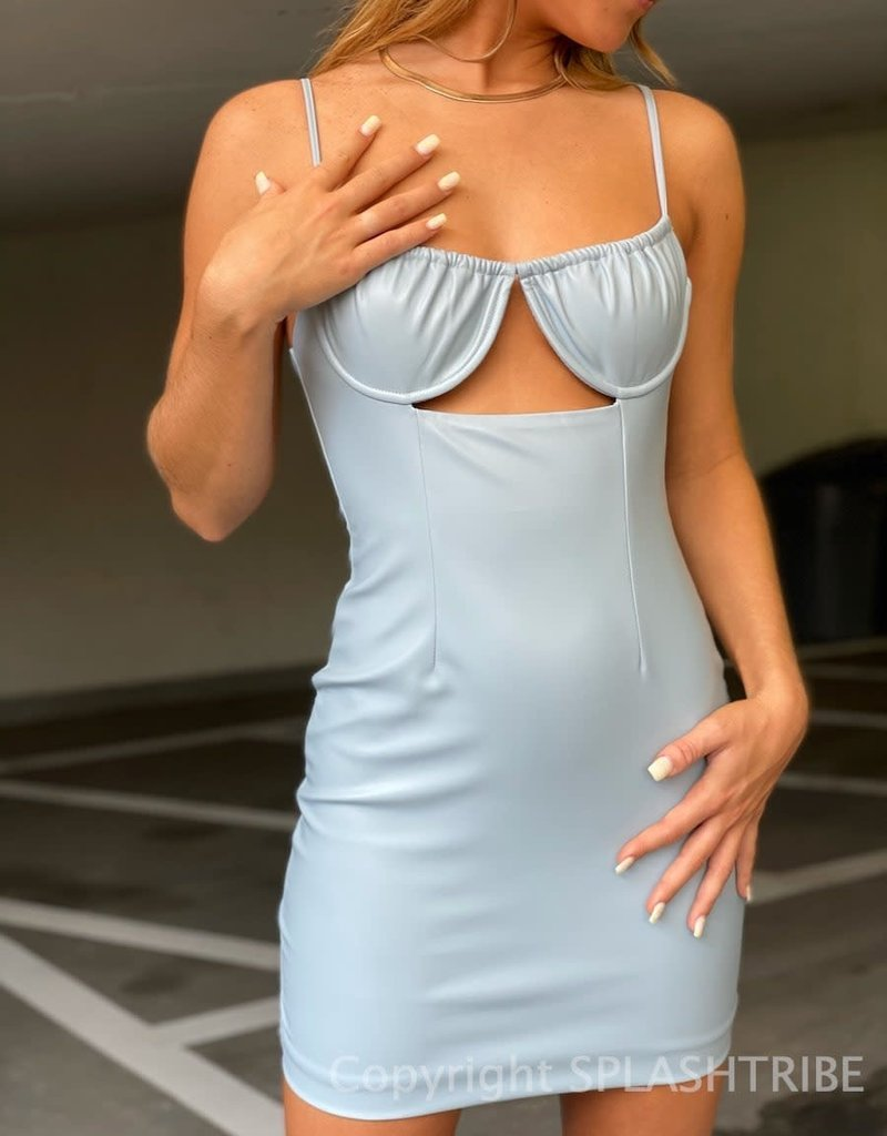 Faux Leather Ruched Underwire Cutout Mini Dress