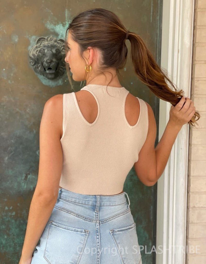 Rib Cutout Double Cinched Cropped Tank Top