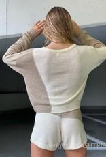 Knit Colorblock Long Sleeve Crop Top and Short Set
