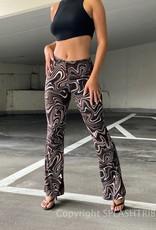 Swirl Print Flare Pants