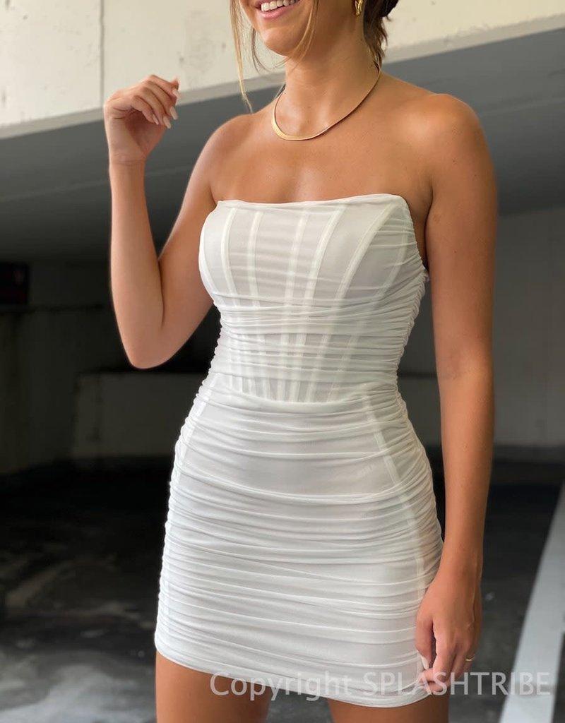 Draped Mesh Corset Mini Dress