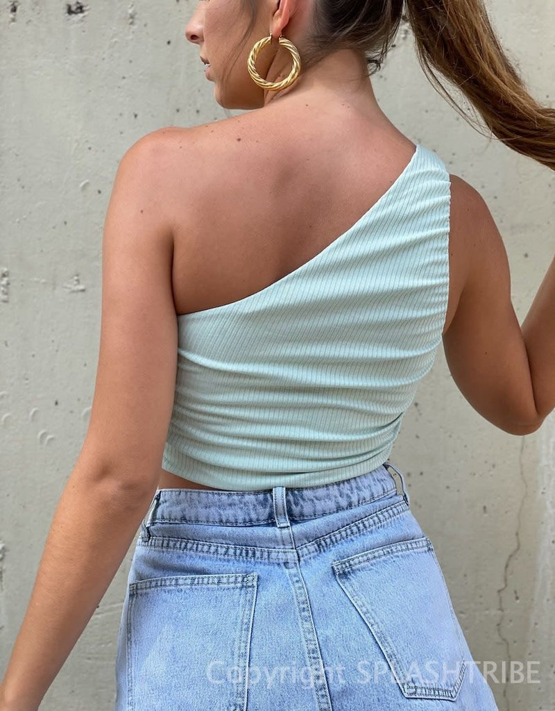 One Shoulder Ruched Rib Crop Top
