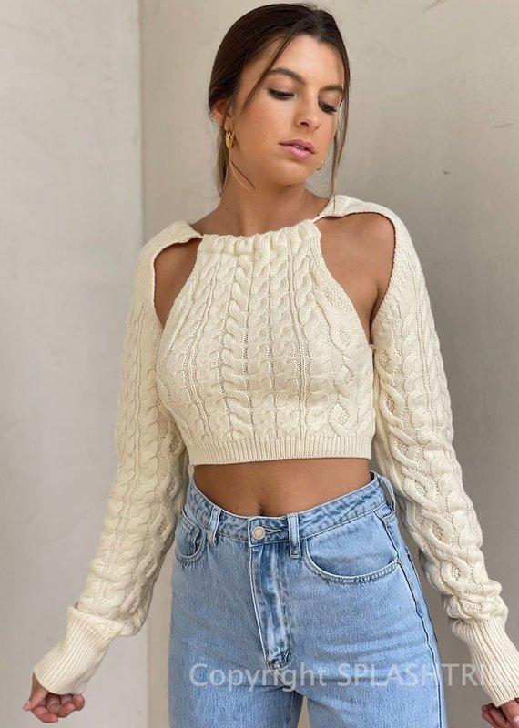 Matti Cable Knit Shrug Tie Back Sweater