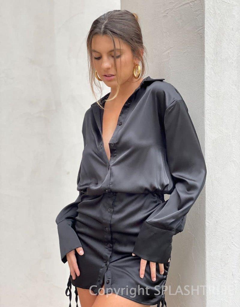 Ireland Satin Cinched Side Shirt Mini Dress