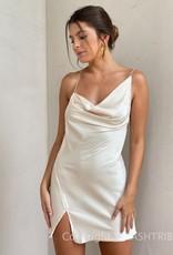 Satin Cowl Backless Mini Dress