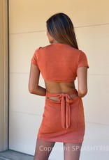 Blaise Shimmer Short Sleeve Cutout Mini Dress