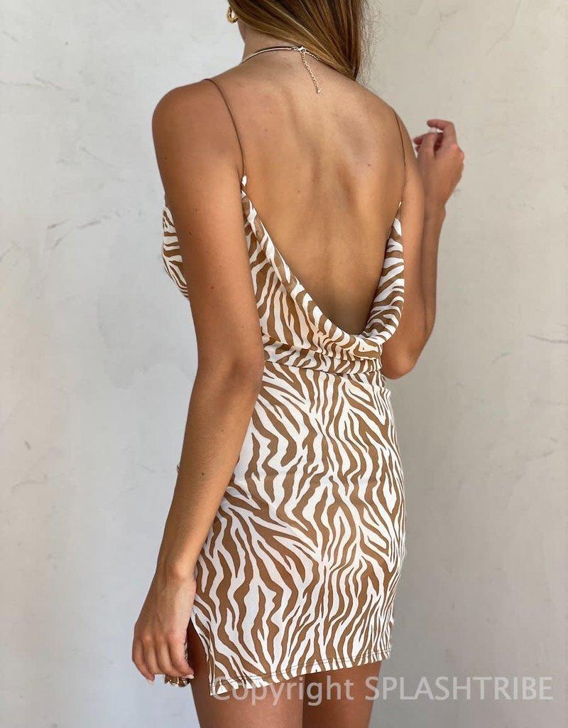 Mesh Cowl Neck Animal Print Mini Dress