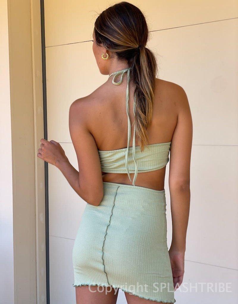 Lettuce Edge Cutout Halter Mini Dress