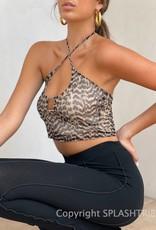 Mesh Cheetah Keyhole Halter Crop Top