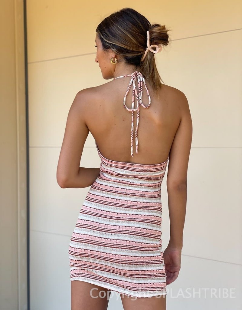 Textured Stripe Lace Up Front Halter Mini Dress