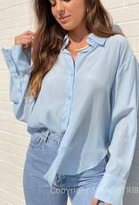 Drapey Long Sleeve Button Down Blouse