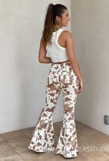 Cow Print Side Fringe Bell Bottom Pants