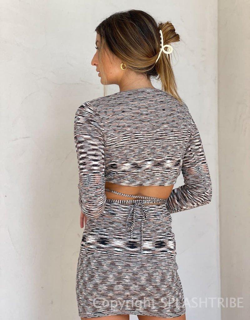 Space Dye Knit Mini Skirt
