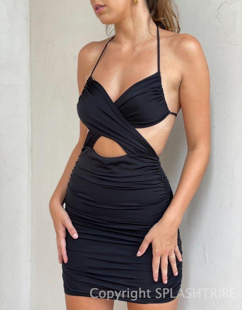 Estee Cross Front Ruched Mini Dress