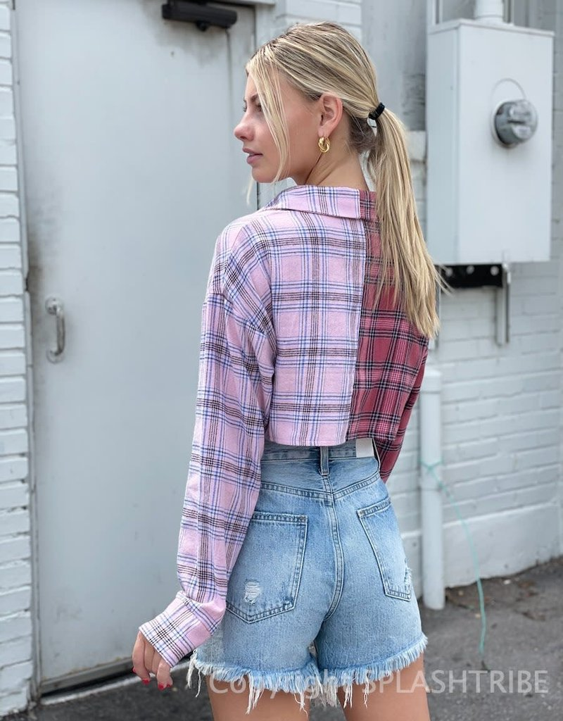 It Takes Two Plaid Long Sleeve Crop Top