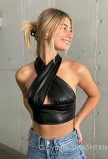 Faux Leather Keyhole Halter Crop Top