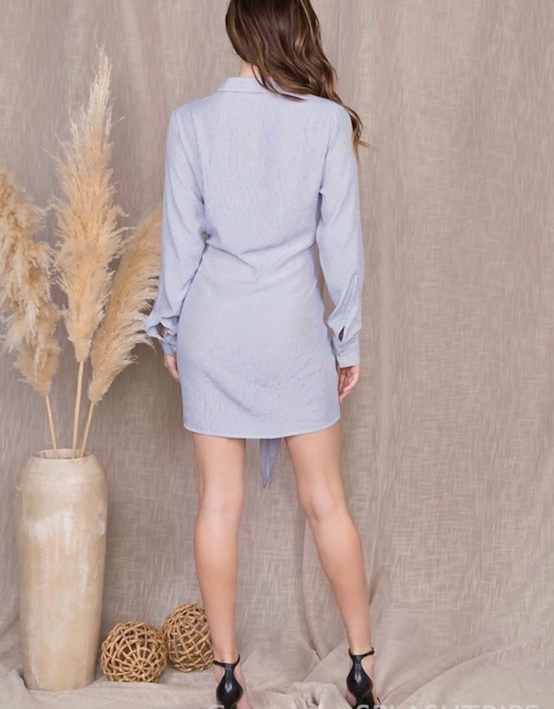 Stripe Long Sleeve Soft Tie Shirt Dress
