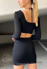 Keyhole Cutout Long Sleeve Halter Mini Dress