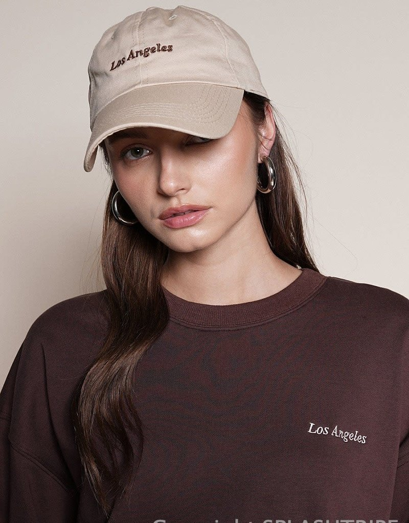 LA Embroidered Baseball Hat Beige