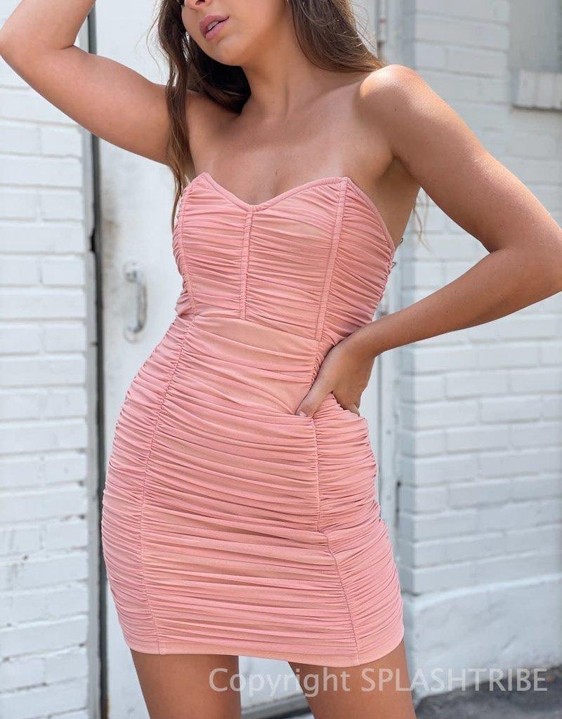 Mesh Ruched Tube Mini Dress