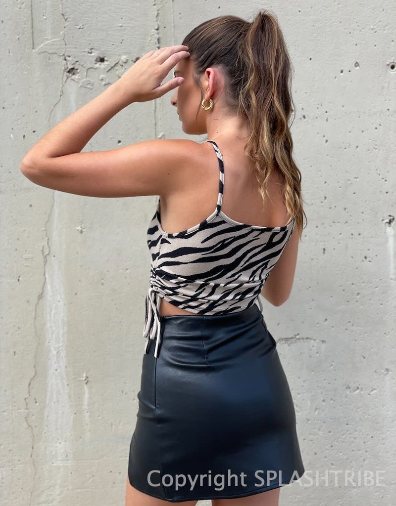 Cinched Side Zebra Crop Top