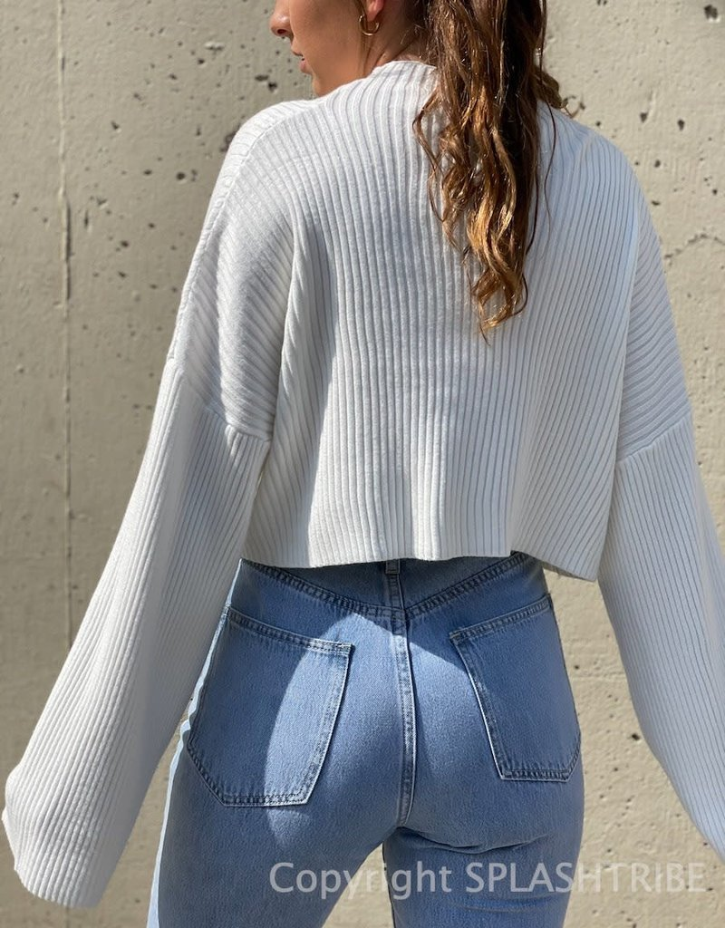 Mock Neck Rib Crop Sweater