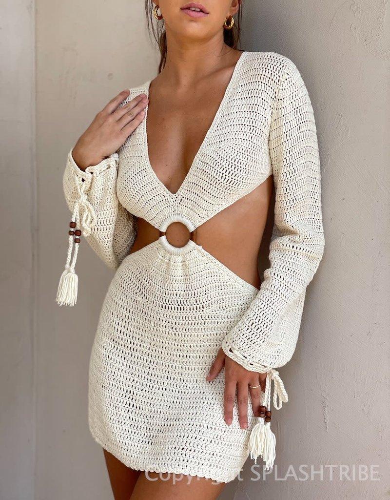 Joplin Crochet Long Sleeve Mini Dress
