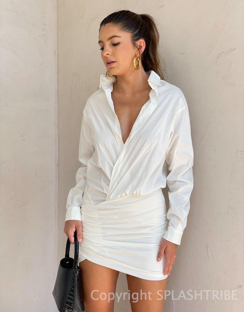 Wrap Long Sleeve Shirt Dress