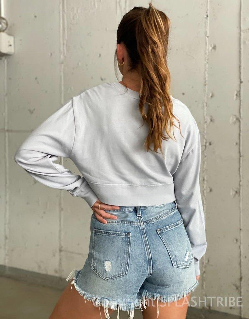 Banded Crewneck Crop Sweatshirt