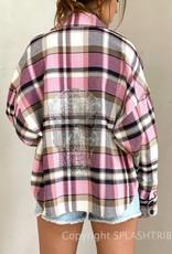 Skull Rhinestone Flannel Jacket