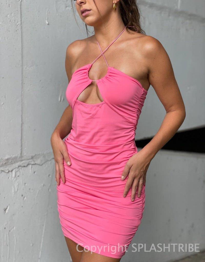 Delia Halter Ruched Bodycon Mini Dress