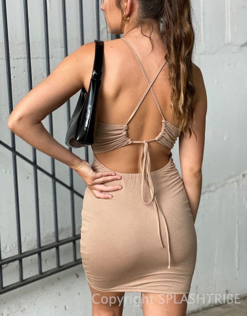 Bebe Ruched Halter Mini Dress