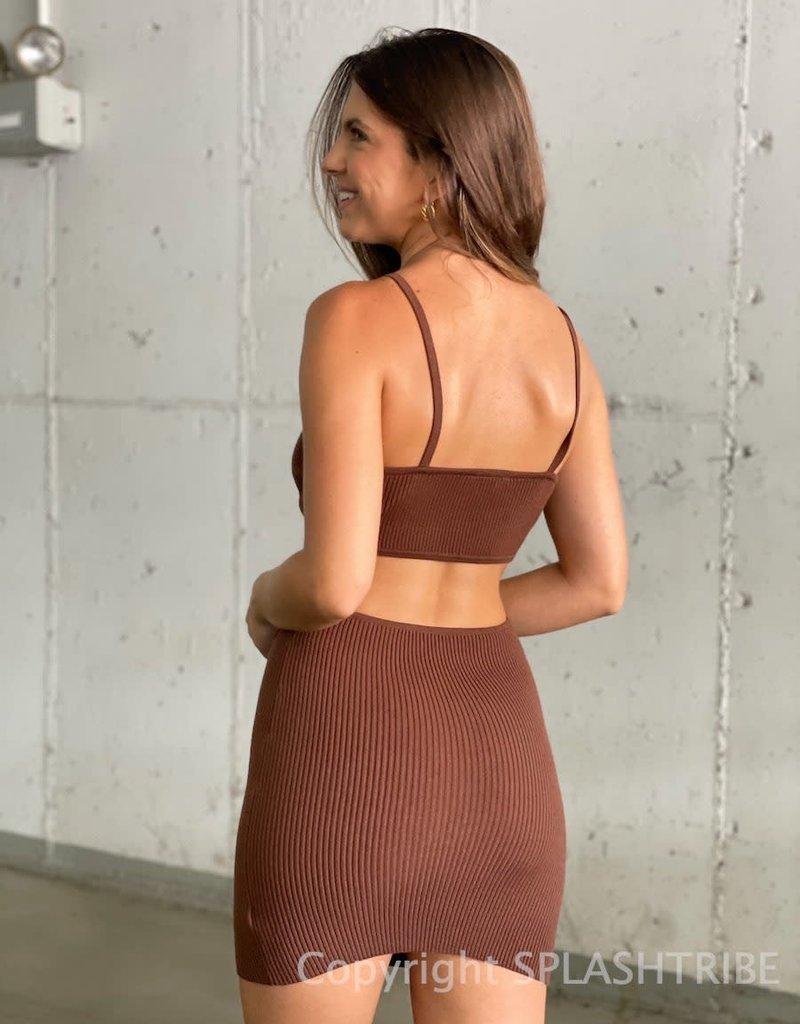Raquel Ribbed Cutout Mini Dress