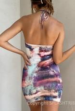 Watercolor O Ring Halter Mini Dress