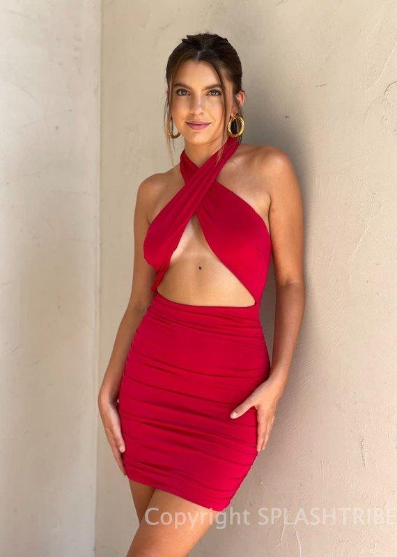 Christina Halter Ruched Mini Dress