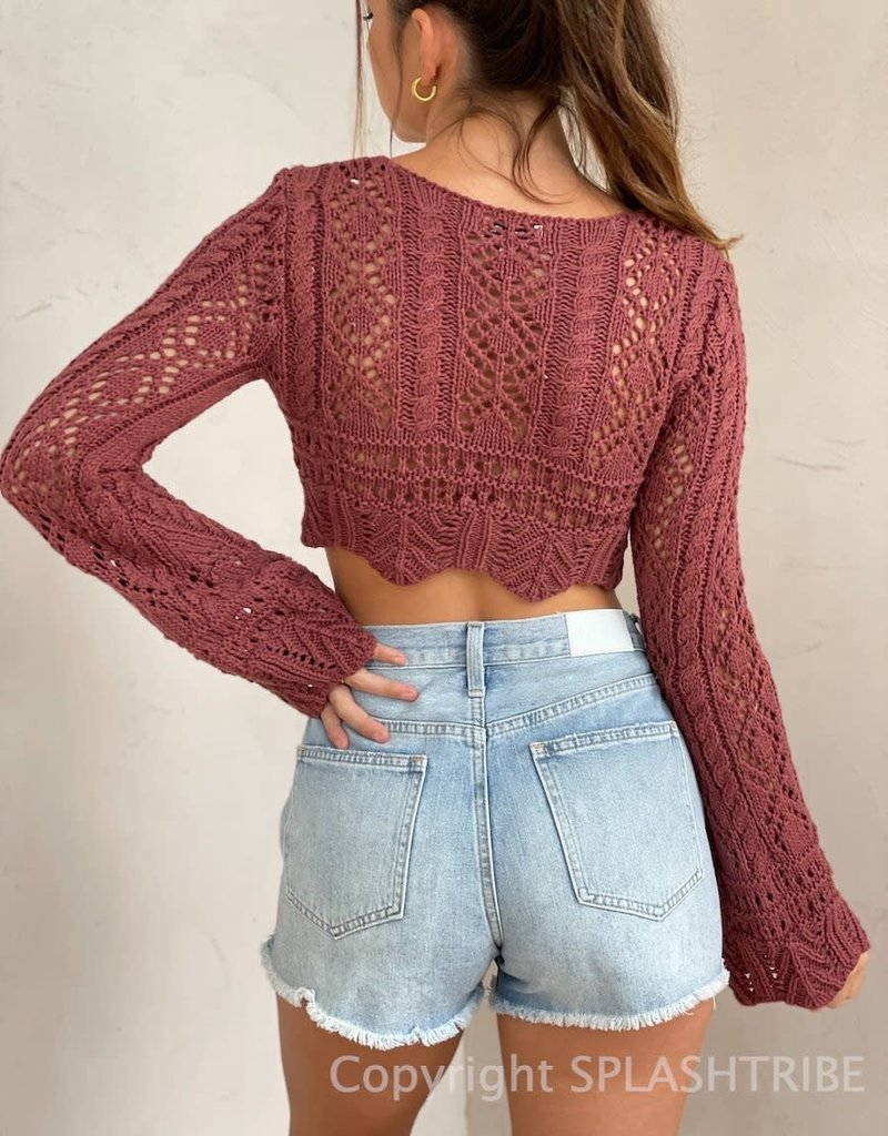 Ibiza Crochet Long Sleeve Crop Top
