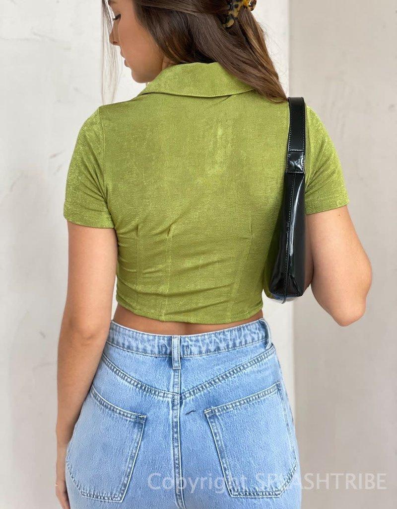 Shimmer Button Front Short Sleeve Crop Top