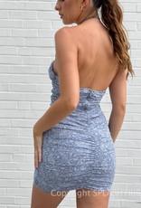 Tonal Print Cutout Halter Mini Dress