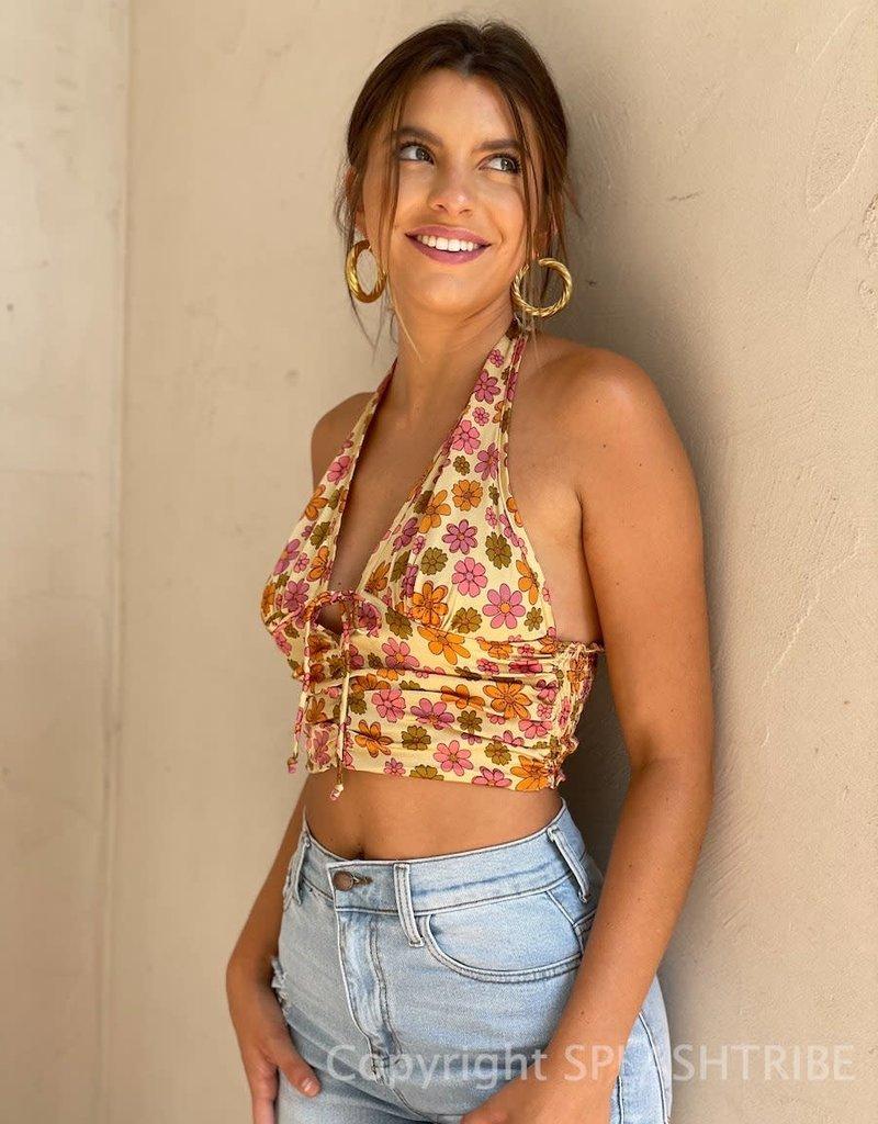Cindy Floral Halter Crop Top