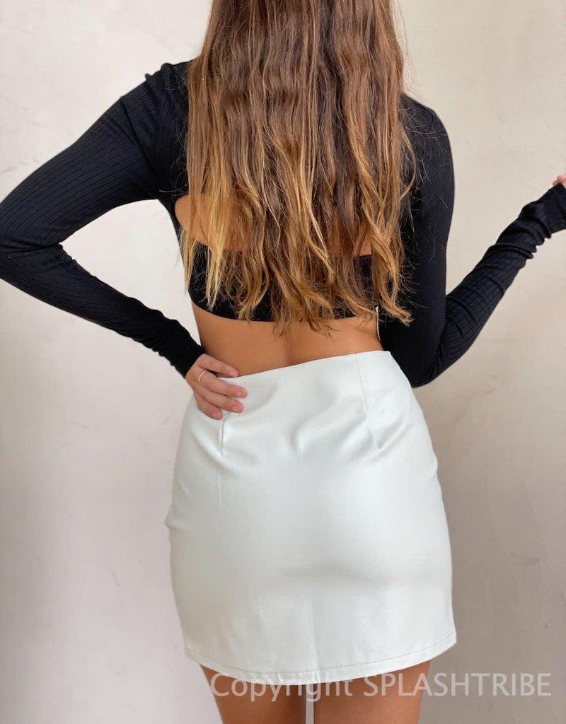 Faux Leather Slit Mini Skirt