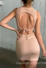 Keyhole Cinched Tie Back Mini Dress