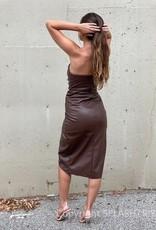 Vegan Leather Wrap Midi Dress