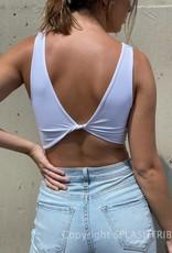 Textured Reversible Twist Crop Top White