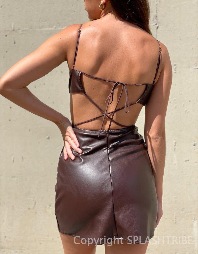 Faux Leather Cutout Tie Back Mini Dress