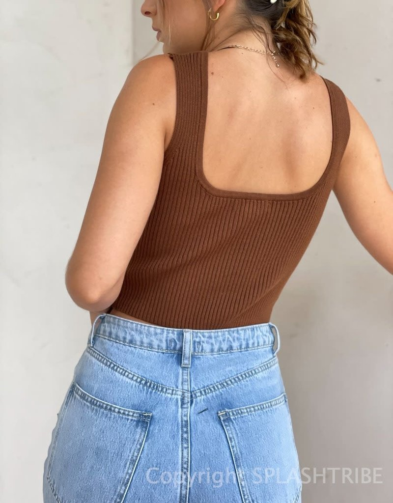 Notched Sweater Crop Tank