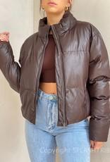 Vegan Leather Toggle Puffer