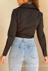 Waist Tie Detail Long Sleeve Crop Shirt