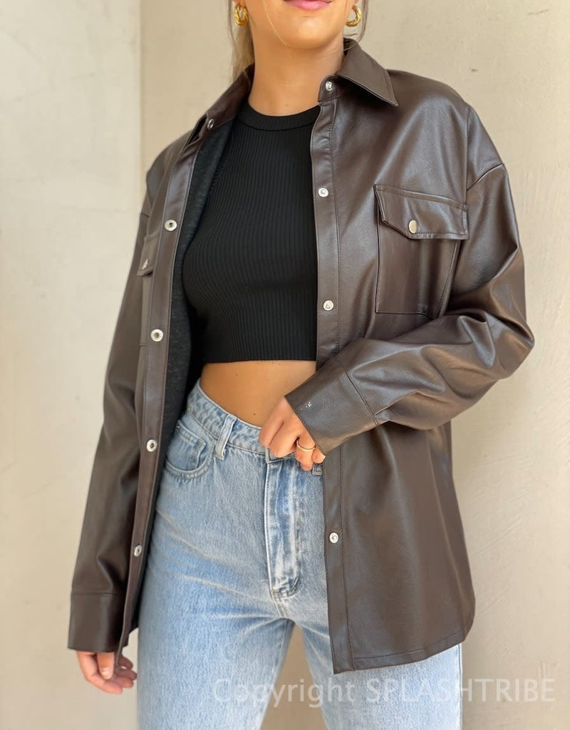 Essential Vegan Leather Shacket